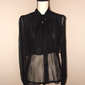 Sheer Polka Dot Blouse by Arden B.  Bow Tie. Sz XS